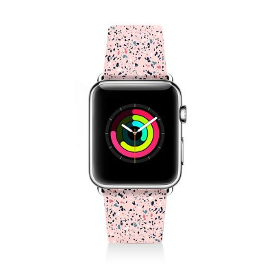 Bracelet compatible avec Apple Watch en cuir 38-40mm Terrazzo Rose Evetane