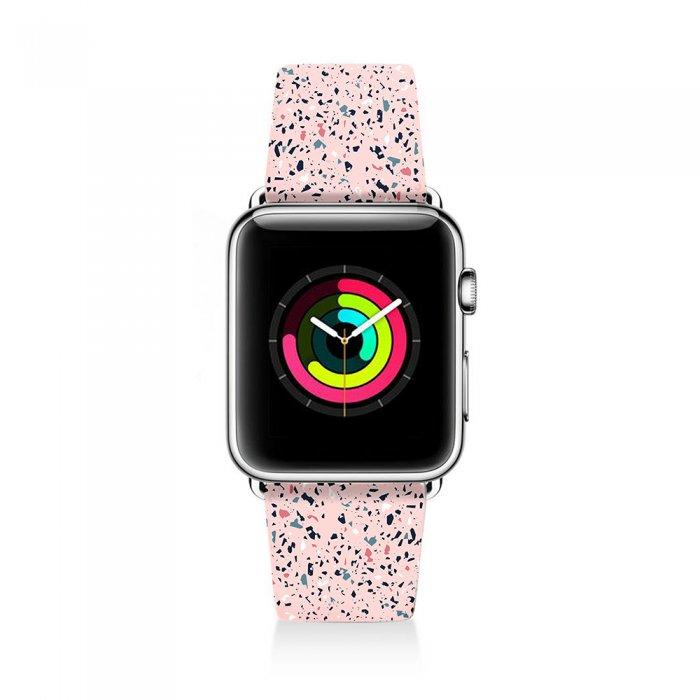 Bracelet Apple Watch en cuir 38-40mm Terrazo Rose Evetane