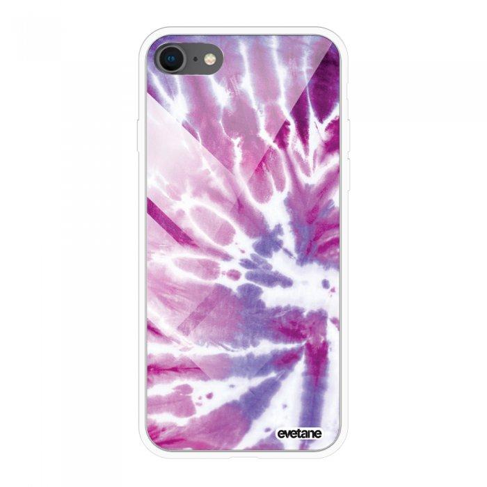 Coque en verre trempé iPhone 7 iPhone 8 verre trempé blanc Tie and Dye Violet Ecriture Tendance et Design Evetane