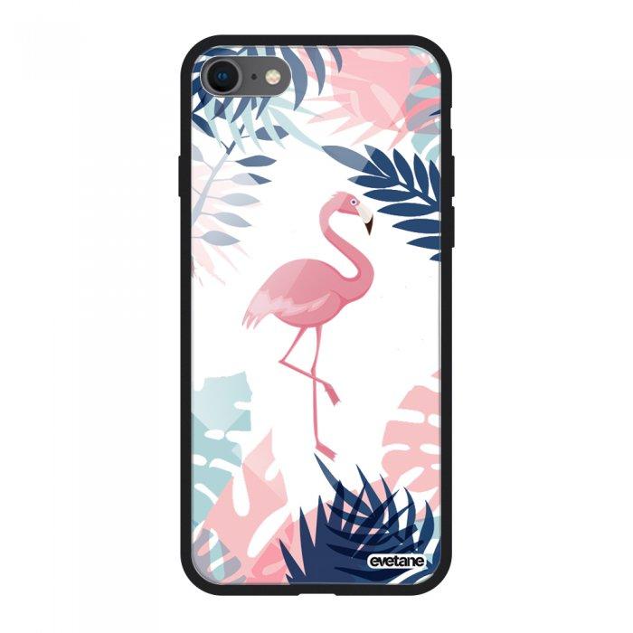 Coque en verre trempé iPhone 7 iPhone 8 noir Flamant Tropical Ecriture Tendance et Design Evetane
