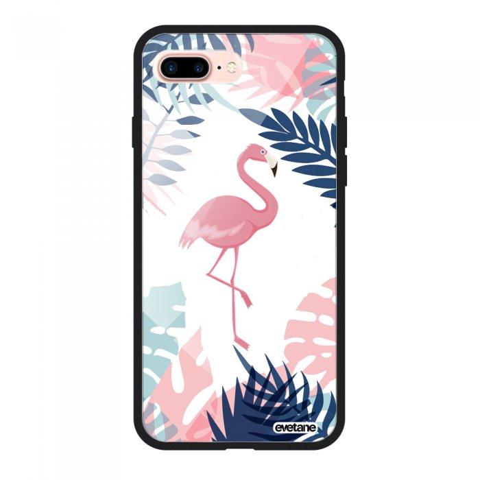 Coque en verre trempé iPhone 7 Plus / 8 Plus noir Flamant Tropical Ecriture Tendance et Design Evetane