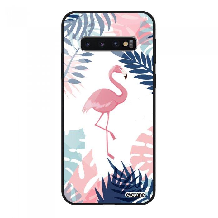 Coque en verre trempé Samsung Galaxy S10 noir Flamant Tropical Ecriture Tendance et Design Evetane