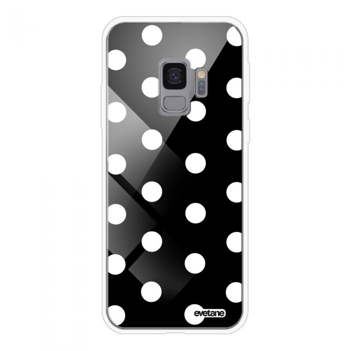 Coque en verre trempé BLANC Samsung Galaxy S9 Pois Blanc Ecriture Tendance et Design Evetane