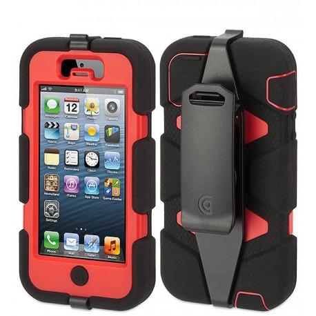 coque griffin survivor clip iphone 5 5s rouge noir