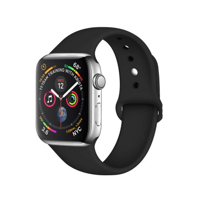 Bracelet  42/44 mm compatible avec Apple Watch silicone - Noir