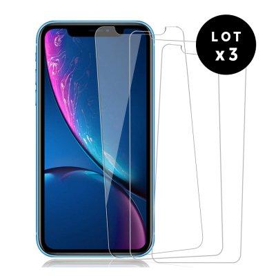 Lot de 3 Vitres iPhone 11 Pro en verre trempé transparente