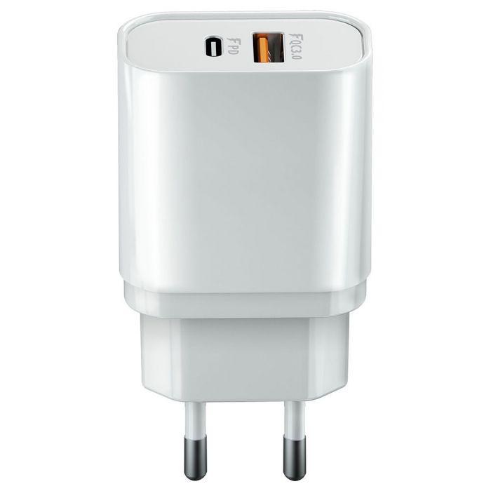 Chargeur secteur ultra-rapide 20W Double Port Type C+1 Port USB