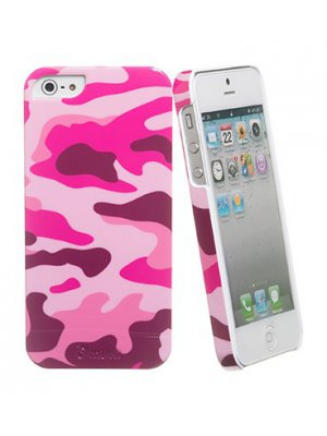 Coque arriere camouflage rose pour apple iphone 5 / 5S plus film ecran