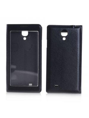 Etui livre noir à rabat transparent tactile pour Samsung Galaxy S4 I9500