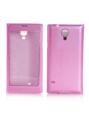 Etui livre rose à rabat transparent tactile pour Samsung Galaxy S4 I9500