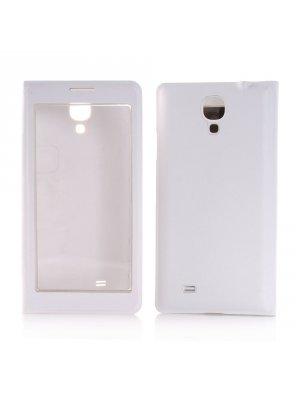 Etui livre blanc à rabat transparent tactile pour Samsung Galaxy S4 I9500