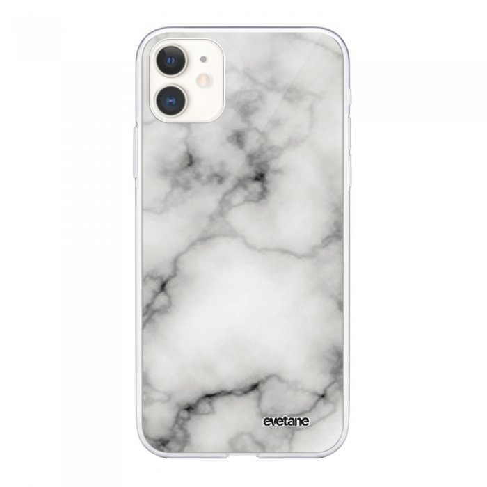 Coque iPhone 11 souple transparente Marbre blanc Motif Ecriture Tendance Evetane.
