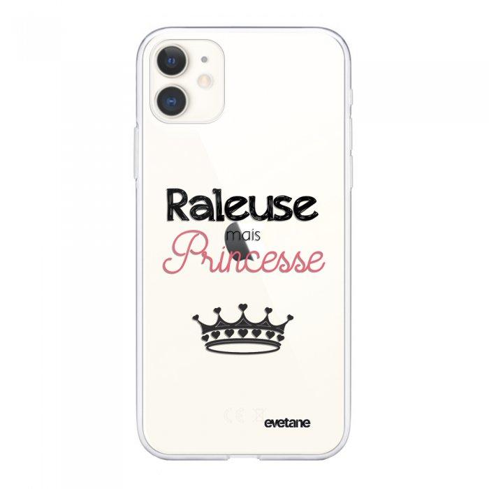 Coque iPhone 11 souple transparente Raleuse mais princesse Motif Ecriture Tendance Evetane.