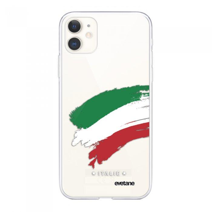 Coque iPhone 11 souple transparente Italie Motif Ecriture Tendance Evetane.