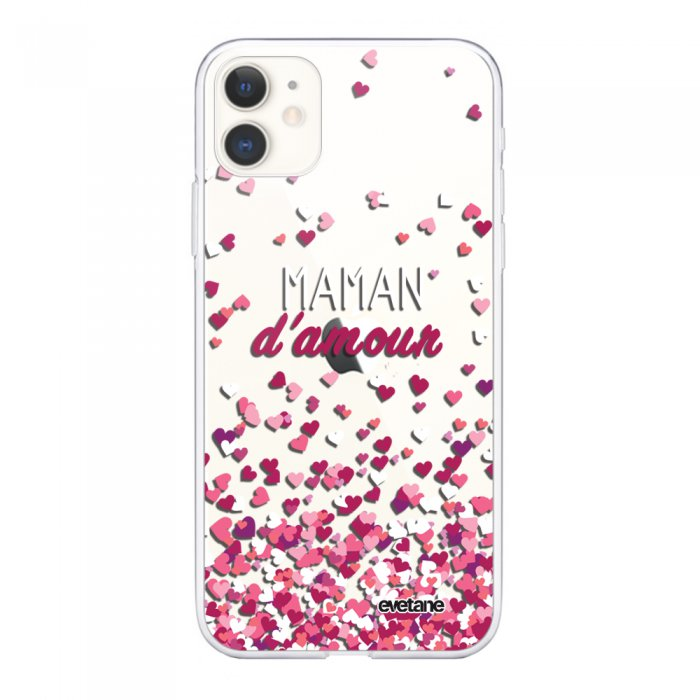 Coque iPhone 11 souple transparente Maman damour Motif Ecriture Tendance Evetane.