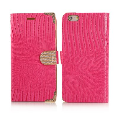 Etui livre croco rose à strass pour Apple iPhone 6 Plus 5.5''