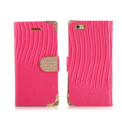 Etui livre croco rose à strass pour Apple iPhone 6 4.7''