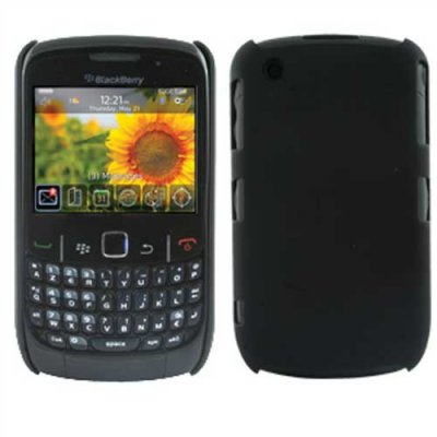 Muvit Coque arriere noire glossy avec protege ecran compatible pour BlackBerry 8520 et 9300 Curve