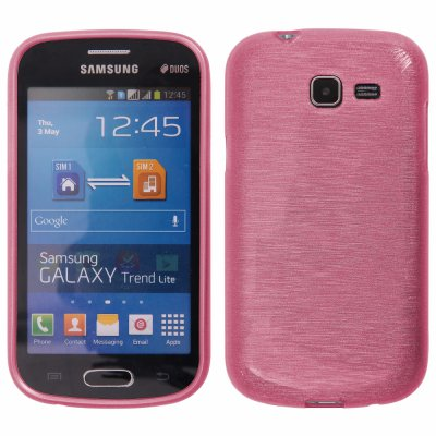 Coque silicone effet métallique rose pour Samsung Galaxy Trend S7562 / S7560