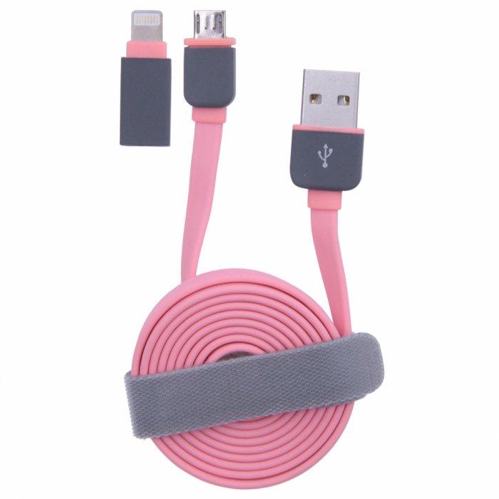 Câble plat rose USB / Micro USB + adaptateur Lightning