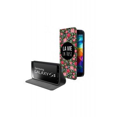 Etui livre universel La vie en rose pour Samsung Galaxy S5