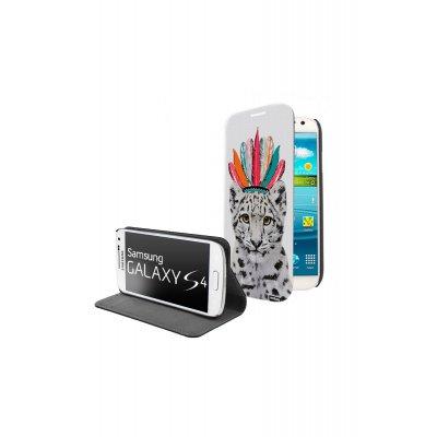 Etui livre universel Léopard indien pour Samsung Galaxy S4