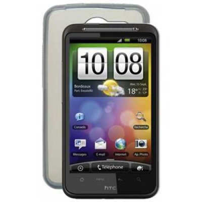 Housse silicone transparente fumee pour HTC Desire HD