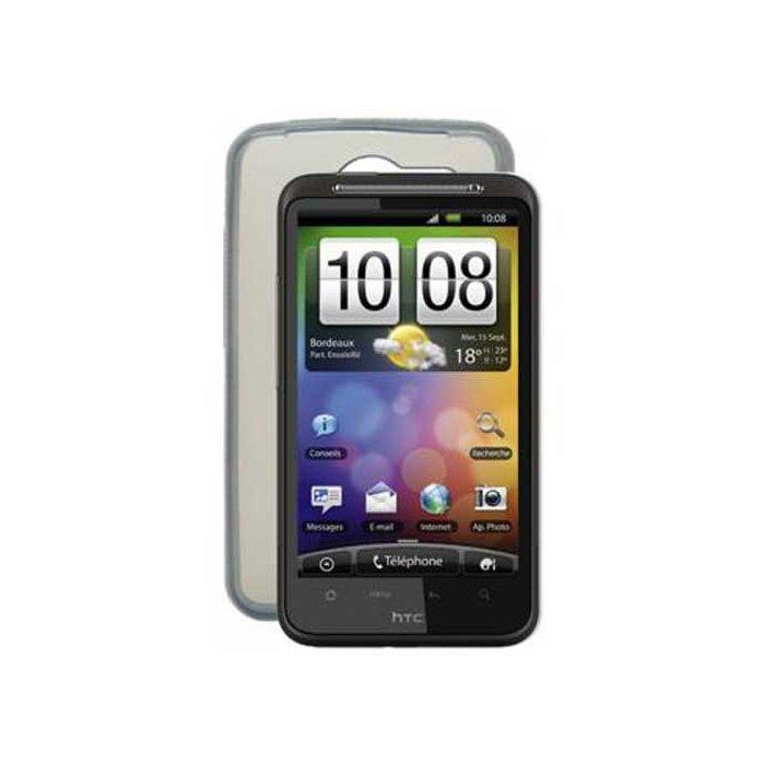 Housse silicone transparente fumee pour HTC Desire HD