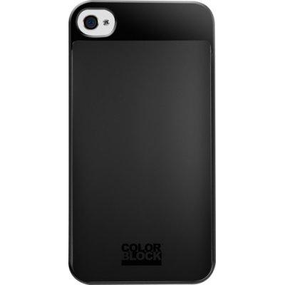 Coque rigide Colorblock noire pour iPhone 4/4S avec emplacement pour carte