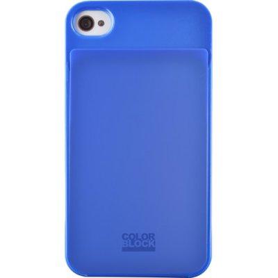 Coque rigide Colorblock bleue pour iPhone 4/4S avec emplacement pour carte