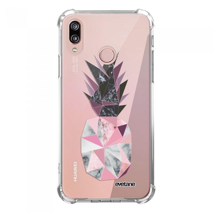 Coque Huawei P20 Lite anti-choc souple angles renforcés transparente Ananas geometrique marbre Evetane. - Coquediscount