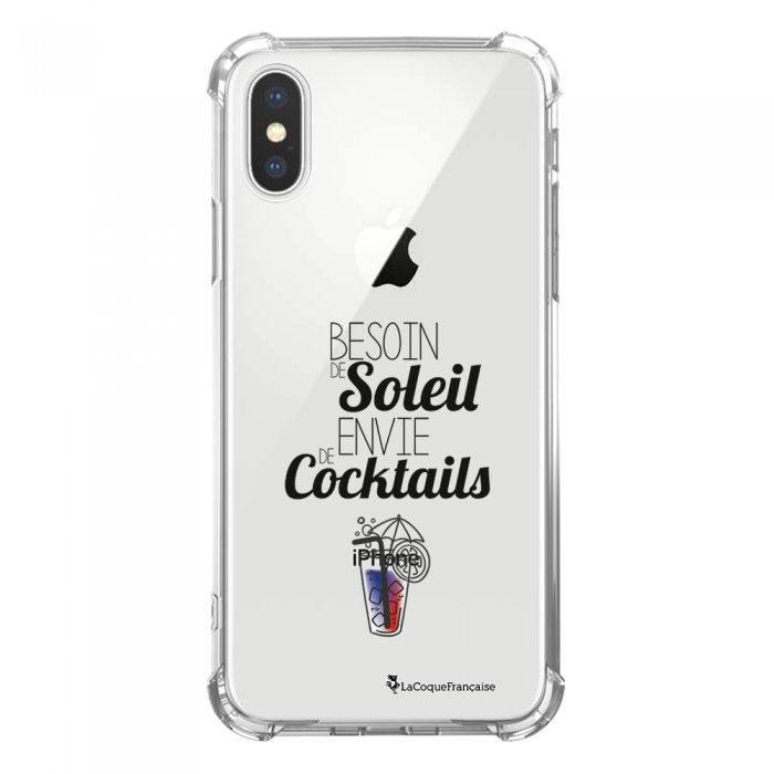 Coque iPhone X/Xs anti-choc souple avec angles renforcés transparente Besoin de soleil envie de cocktails Tendance La Coque Francaise