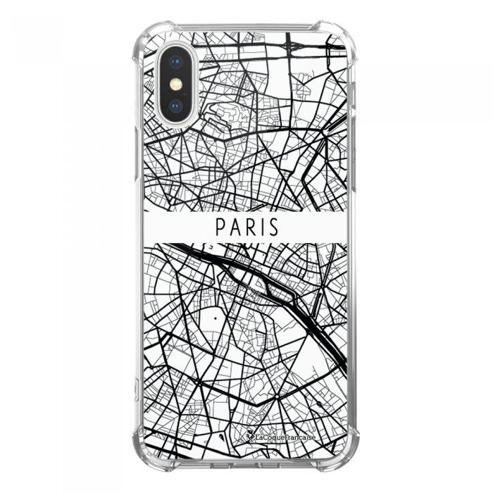 Coque iPhone X iPhone XS anti-choc souple avec angles renforcés transparente Carte de Paris Tendance La Coque Francaise...