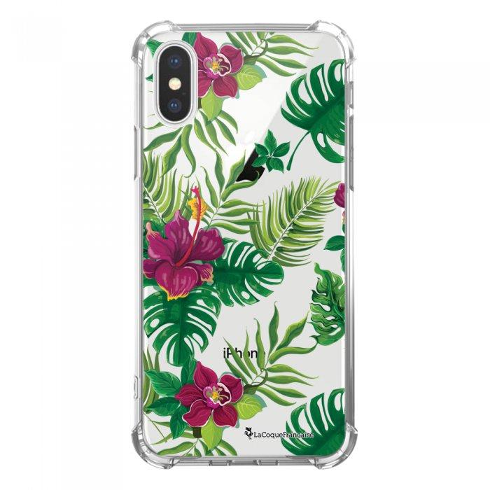 Coque iPhone X/Xs anti-choc souple avec angles renforcés transparente Tropical Tendance La Coque Francaise