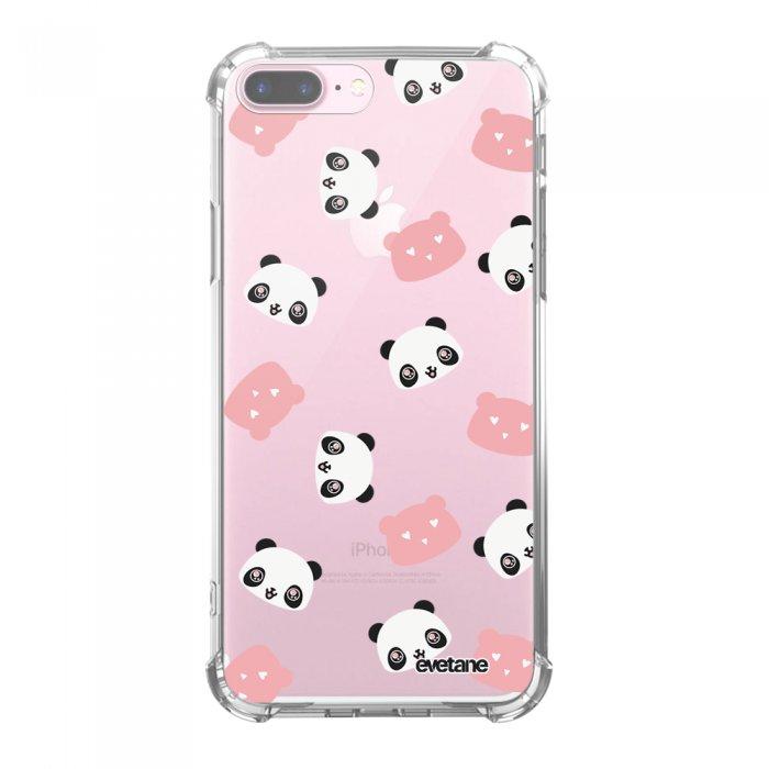 Coque iPhone 7 Plus / 8 Plus anti-choc souple avec angles renforcés transparente Tête de Panda Tendance Evetane...