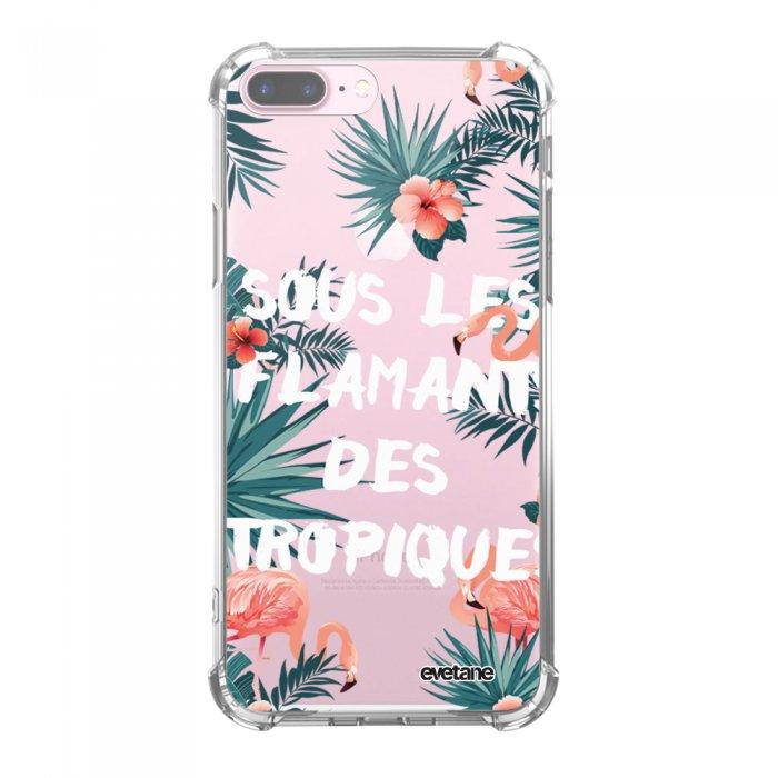 Coque iPhone 7 Plus / 8 Plus anti-choc souple avec angles renforcés transparente Flamants des tropiques Tendance Evetane
