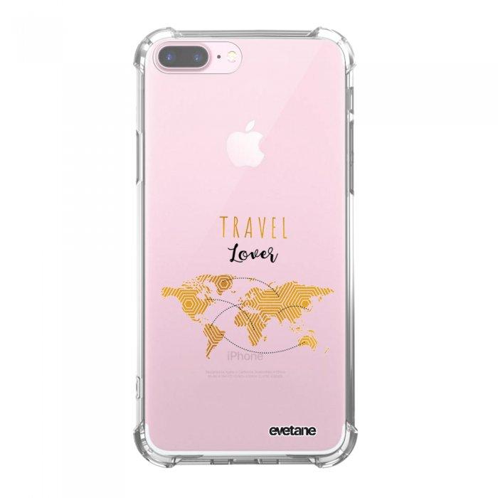 Coque iPhone 7 Plus / 8 Plus anti-choc souple avec angles renforcés transparente Travel Lover Tendance Evetane
