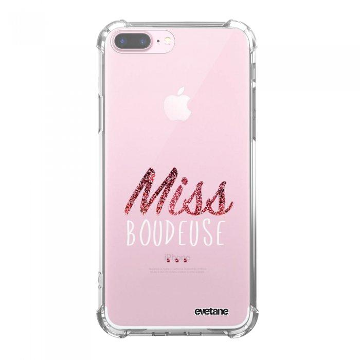 Coque iPhone 7 Plus / 8 Plus anti-choc souple avec angles renforcés transparente Miss Boudeuse Tendance Evetane