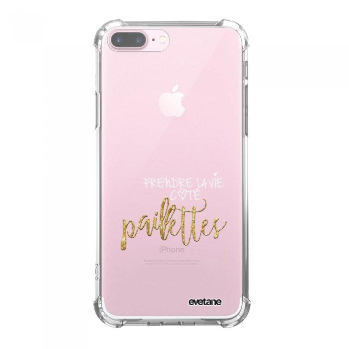 Coque iPhone 7 Plus / 8 Plus anti-choc souple avec angles renforcés transparente Côté Paillettes Tendance Evetane