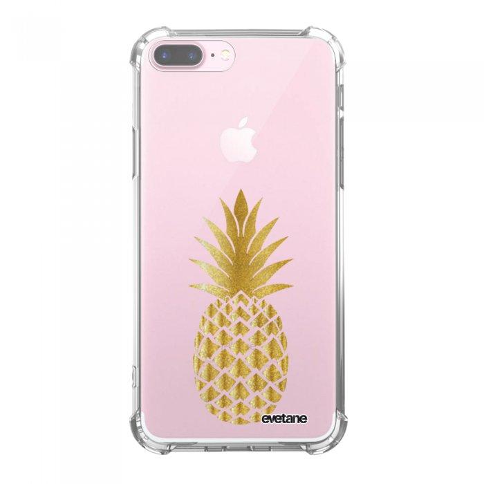 Coque iPhone 7 Plus / 8 Plus anti-choc souple avec angles renforcés transparente Ananas Or Tendance Evetane...