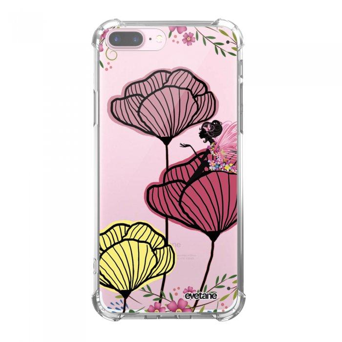 Coque iPhone 7 Plus / 8 Plus anti-choc souple avec angles renforcés transparente Coquelicot couleur Tendance Evetane