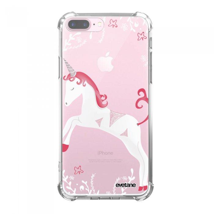 Coque iPhone 7 Plus / 8 Plus anti-choc souple avec angles renforcés transparente Licorne Tendance Evetane...
