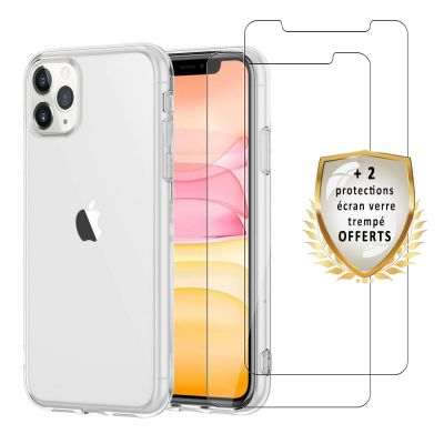 Coque iPhone 11 Pro Max  ultra mince Silicone +2 verres trempés