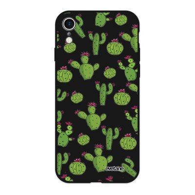 Coque iPhone Xr Silicone Liquide Douce noir Cactus Ecriture Tendance et Design Evetane
