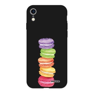 Coque iPhone Xr Silicone Liquide Douce noir Macarons Ecriture Tendance et Design Evetane