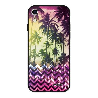 Coque iPhone Xr Silicone Liquide Douce noir Palmiers Ecriture Tendance et Design Evetane