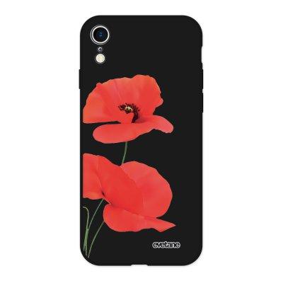 Coque iPhone Xr Silicone Liquide Douce noir Coquelicot Ecriture Tendance et Design Evetane