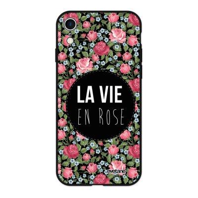 Coque iPhone Xr Silicone Liquide Douce noir La Vie en Rose Ecriture Tendance et Design Evetane