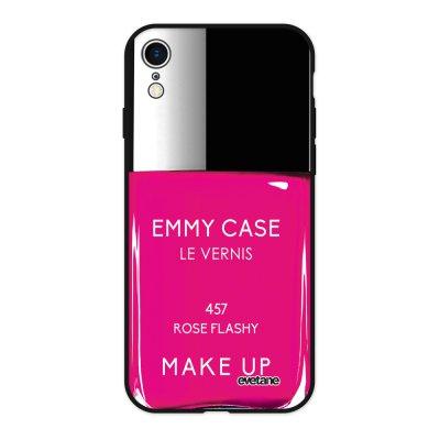 Coque iPhone Xr Silicone Liquide Douce noir Vernis Rose Ecriture Tendance et Design Evetane