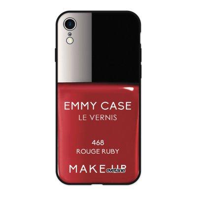 Coque iPhone Xr Silicone Liquide Douce noir Vernis Rouge Ecriture Tendance et Design Evetane
